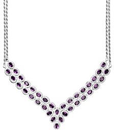 Sterling Silver Necklace, Amethyst Two Row Bib Necklace (14 ct. t.w.)