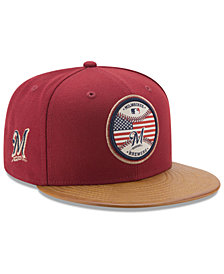 New Era Milwaukee Brewers Leather Americana 59FIFTY Cap
