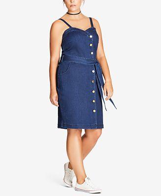 City Chic Trendy Plus Size Side-Button Denim Dress - Dresses ...