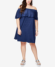 RACHEL Rachel Roy Trendy Plus Size Ruffled Off-The-Shoulder Dress
