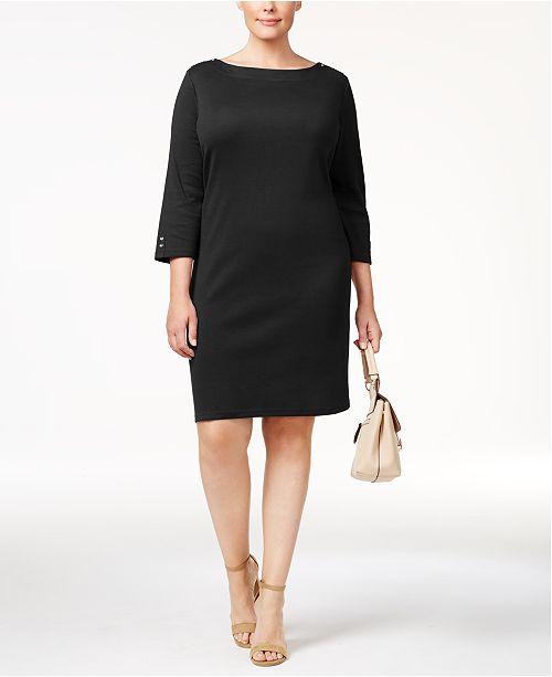 636e171d7e364 ... Karen Scott Plus Size Cotton Button-Detail Shift Dress