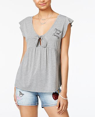 Love Tribe Juniors' Sorry Not Sorry Graphic Print Top with Bracelet