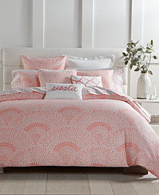 CLOSEOUT! Charter Club Damask Designs Cotton 3-Pc. Poppy Patchwork Medallion-Print King Duvet Cover Set, Created for Macy's