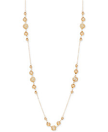 "24"" Polished Bead Statement Necklace in 14k Gold"