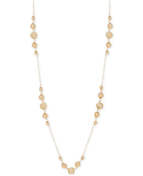 """Macy's 24"""" Polished Bead Statement Necklace in 14k Gold"""