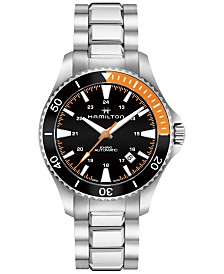 Hamilton Men's Swiss Automatic Khaki Navy Stainless Steel Bracelet Watch 40mm