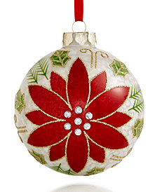 Holiday Lane 2018 Glass Poinsettia Ball Ornament, Created for Macy's