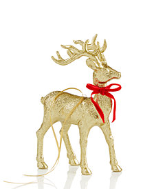 "Holiday Lane 8.5"" Gold Deer with Bow Ornament, Created for Macy's"