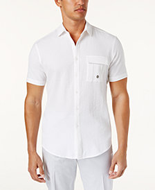 I.N.C. Men's Stretch Seersucker Short Sleeve Utility Shirt, Created for Macy's