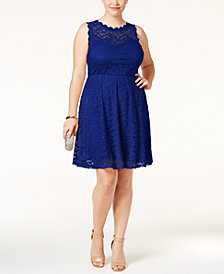 Love Squared Trendy Plus Size Lace Fit & Flare Dress