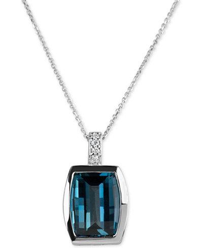 Blue Topaz (4-1/2 ct. t.w.) & Diamond Accent Pendant Necklace in 14k White Gold