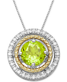 Peridot (1 ct. t.w.) & Diamond Accent Two-Tone Pendant Necklace in Sterling Silver & 14k Gold
