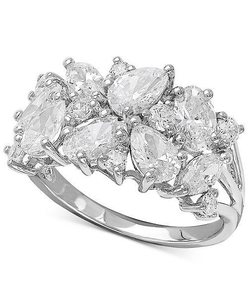 Macy's Arabella Swarovski Zirconia Cluster Ring in Sterling Silver