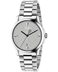 Gucci Unisex Swiss G-Timeless Stainless Steel Bracelet Watch 38mm