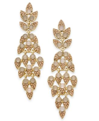Image of INC International Concepts Gold-Tone Pink Stone & Pavé Leaf Linear Drop Earrings, Created for Macy's