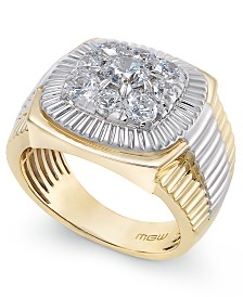 Men's Diamond Cluster Two-Tone Ring (2 ct. t.w.) in 14k Gold