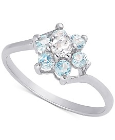 White Topaz (1/10 ct. t.w.) & Blue Topaz (1/3 ct. t.w.) Flower Ring in Sterling Silver