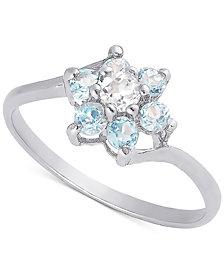 White Topaz (1/10 ct. t.w.) & Blue Topaz (1/3 ct. t.w.) Flower Ring in Sterling Silver
