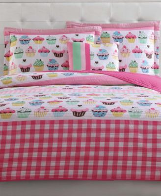 Kids Cupcakes Reversible 3-Pc. Twin Quilt Set