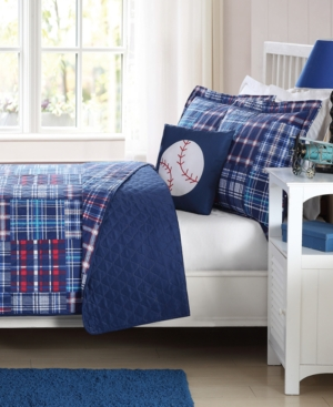 My World Reversible 4-Pc. Navy Plaid Patchwork Full Quilt Set Bedding