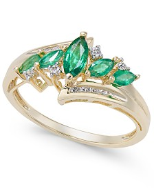 Emerald (1/2 ct. t.w.) & Diamond (1/10 ct. t.w.) in 14k Gold (Also in Sapphire, Tanzanite and Certified Ruby)
