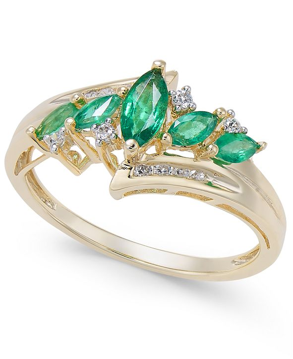 Macy's Emerald (1/2 ct. t.w.) & Diamond (1/10 ct. t.w.) in 14k Gold (Also in Certified Ruby, Tanzanite and Sapphire)