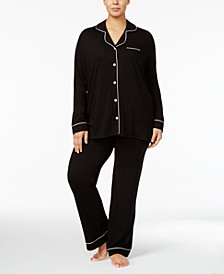 Bella Plus Size Contrast-Trim Pajama Set AMORE9641P, Online Only