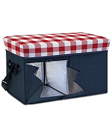 Oniva™ by Picnic Time Gingham-Topped Navy Ottoman Cooler/Seat