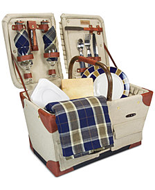 Picnic Time Pioneer Plaid-Accented Tan Picnic Basket
