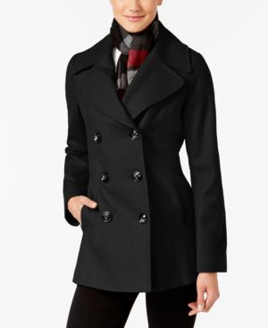 London Fog Double-Breasted Peacoat with Scarf 4762646