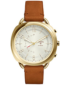 Fossil Women's Q Accomplice Luggage Brown Leather Strap Hybrid Smart Watch 38x40mm