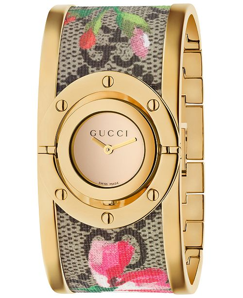 Women S Swiss Twirl Gold Tone And Gg Supreme Fl Print Canvas Bangle Bracelet Watch 23 5mm