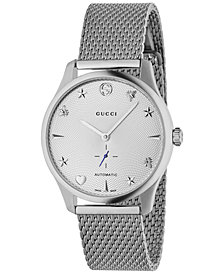 Gucci Men's Swiss Automatic G-Timeless Stainless Steel Mesh Bracelet Watch 40mm