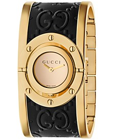 Women's Swiss Twirl Gold-Tone and Black Guccissima Leather Bangle Bracelet Watch 23.5mm