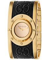 53c6638b87ded8 Gucci Women s Swiss Twirl Gold-Tone and Black Guccissima Leather Bangle  Bracelet Watch 23.5mm