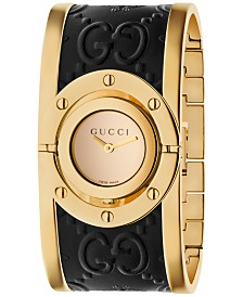 Gucci Women's Swiss Twirl Gold-Tone and Black Guccissima Leather Bangle Bracelet Watch 23.5mm