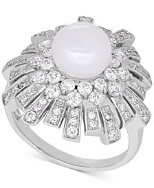 Arabella Cultured Freshwater Pearl (8mm) & Swarovski Zirconia Ring in Sterling Silver, Created for Macy's