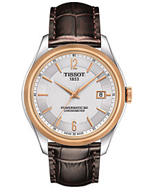 Tissot Men's Swiss Automatic Ballade Brown Leather Strap Watch 39mm