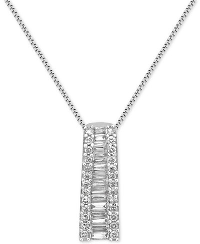 Diamond Ladder Pendant Necklace (1/2 ct. t.w.) in 14k White Gold