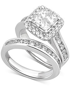 Diamond Square Halo Channel-Set Bridal Set (2-7/8 ct. t.w.) in 14k White Gold