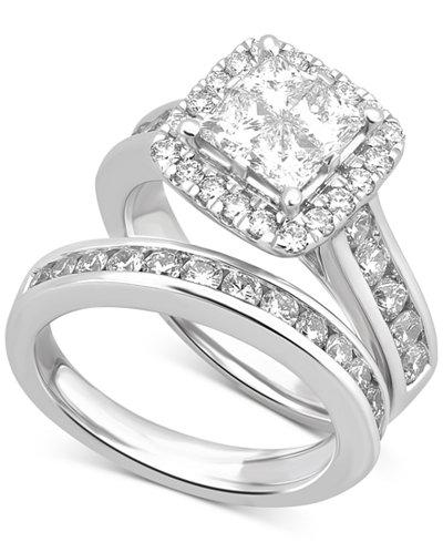 Diamond Square Halo Channel-Set Bridal Set (2-7/8 ct. t.w.) in 14k White Gold