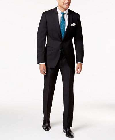 Calvin Klein Men's Extra-Slim Fit Black Solid Suit