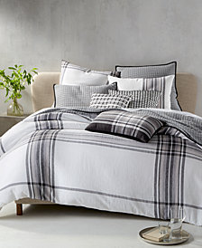 CLOSEOUT! Hotel Collection Linen Plaid Bedding Collection, Created for Macy's