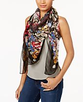 I.N.C. Oversized Beaded Floral Scarf, Created for Macy's