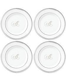 Lenox Federal Platinum Monogram Tidbit Plates, Set Of 4, Script Letters