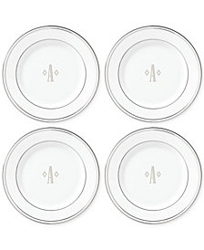 Lenox Federal Platinum Monogram Tidbit Plates, Set Of 4, Block Letters
