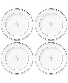 Lenox Federal Platinum Monogram Tidbit Plates, Set Of 4, Block Letters