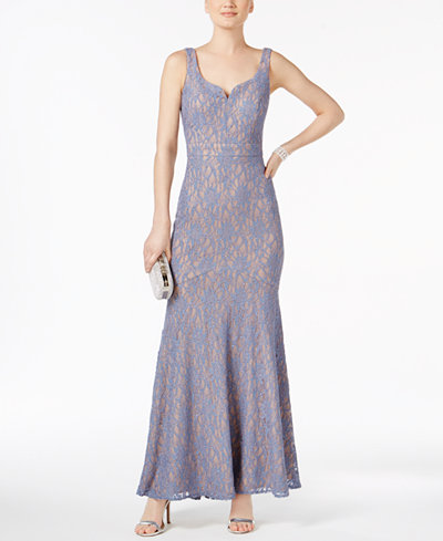 Betsy & Adam Glitter Lace Gown