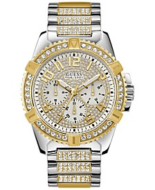 Men's Pavé Crystal-Set Two-Tone Stainless Steel Bracelet Watch 50mm