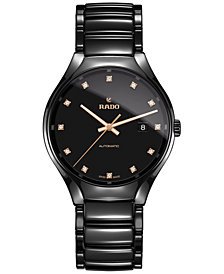 Rado Unisex Swiss Automatic True Diamond (1/8 ct. t.w.) Black Ceramic Bracelet Watch 40mm